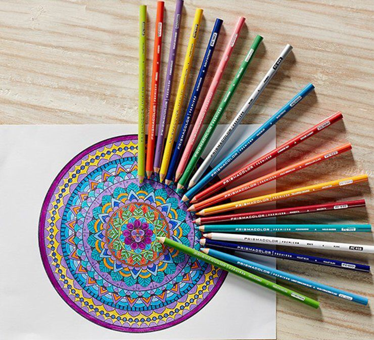 Assorted colored pencils on a desk